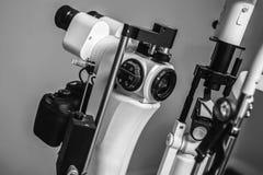 Medical optometrist equipment used for eye exams. Medical equipment used for eye exams by optometrist Stock Photo