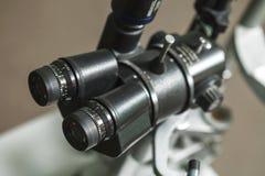 Medical optometrist equipment used for eye exams. Medical equipment used for eye exams by optometrist Royalty Free Stock Image
