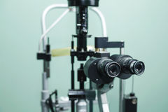 Medical optometrist equipment used for eye exams Stock Photos