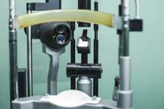 Medical optometrist equipment used for eye exams. Medical equipment used for eye exams by optometrist Stock Images