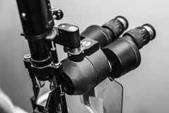 Medical optometrist equipment used for eye exams Stock Photo