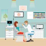 Medical otolaryngologist ear nose throat doctor rinsing nose. At women, office interior medical health care flat design vector illustration Stock Photo