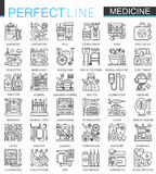 Medical outline concept symbols. Perfect thin line stroke icons. Healthcare modern linear style illustrations set. Stock Photos