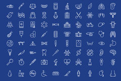 80 medical outline icons set. Over blue background Royalty Free Stock Images