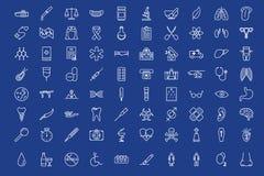 80 medical outline icons set. Over blue background royalty free illustration