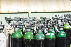 Medical oxygen bottles ready to transport Royalty Free Stock Photography