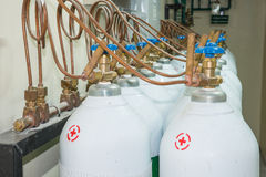Medical Oxygen Tank in Hospital control room stock images