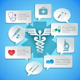 Medical paper infographic. Medical pharmacy ambulance paper infographic with icons and speech bubbles vector illustration Royalty Free Stock Images