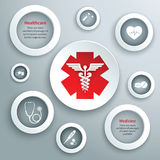 Medical paper symbols. Medical emergency services paper symbols set with capsule stethoscope and healthcare icon isolated vector illustration Stock Images
