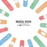 Medical Patch Vector. First Aid Band Plaster Strip Medical Patch Icon Set. Two Sides. Different Plasters Types. Realistic Illustration Isolated On White Stock Photos