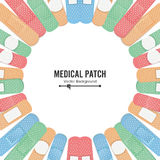 Medical Patch Vector. First Aid Band Plaster Strip Medical Patch Icon Set. Two Sides. Different Plasters Types. Realistic Illustration Isolated On White Royalty Free Stock Photography