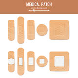 Medical Patch Vector. Two Sides. Adhesive Waterproof Aid Band Plaster Strips Varieties Icons Collection. Realistic. Illustration Isolated On White Royalty Free Stock Image