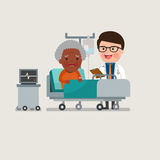 Medical patient grandma being treated by an expert doctor. Stock Photo
