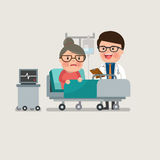 Medical patient grandma being treated by an expert doctor. A medical caucasian patient grandma being treated by an expert doctor in a hospital room. flat design Royalty Free Stock Photo