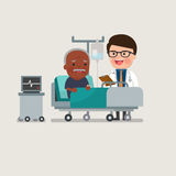 Medical patient grandpa being treated by an expert doctor. African american people - A medical caucasian patient grandpa being treated by an expert doctor in a Royalty Free Stock Image