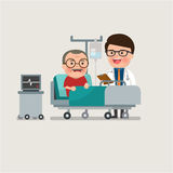 Medical patient grandpa being treated by an expert doctor. A medical caucasian patient grandpa being treated by an expert doctor in a hospital room. flat design Royalty Free Stock Photography