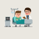 Medical patient man being treated by an expert doctor. A medical caucasian patient man being treated by an expert doctor in a hospital room. flat design Royalty Free Stock Photos