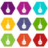 Medical pear icon set color hexahedron Royalty Free Stock Image