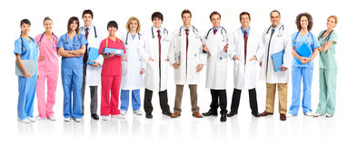 Medical people. Smiling medical people with stethoscopes. Doctors and nurses over white background