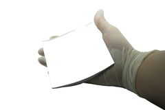 Medical person is holding white note paper on the white background. Stock Images