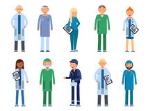 Medical personal. Male and female healthcare professionals. Vector illustrations in flat style. Medical doctor surgeon, team of paramedic, dentist and Royalty Free Stock Image