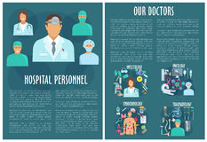 Medical personnel brochure template with doctor Stock Photography
