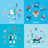 Medical Personnel Set. With paramedic special care doctors and laboratory tests isolated vector illustration Royalty Free Stock Images