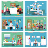 Medical personnel at work. Nurse doctor and patients in hospital interiors. Vector illustration. Interior of medical hospital, clinic room with patient and royalty free illustration