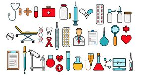 Medical pharmaceutical big set of medical items, equipment, items of icons on a white background: tablets thermometers capsules. Flasks medications first aid stock illustration