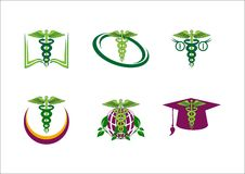 Medical pharmaceutical education vector logo. Icon stock illustration