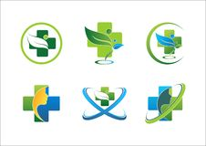 Medical pharmaceutical health logo wellness people green leaf healthy symbol set vector design. Icon stock illustration