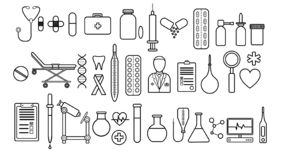 Medical pharmaceutical large set of medical items of simple black and white icons a white background: pills, thermometers, doctor royalty free illustration