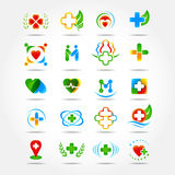 20 Medical pharmacy and health care logo design, icons set. Isolated  illustrations. Stock Photography