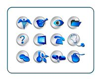 Medical & Pharmacy Icon Set - Blue-Silver Royalty Free Stock Image