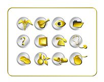Medical & Pharmacy Icon Set - Golden 1 Stock Photos