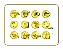 Medical & Pharmacy Icon Set, Golden. Royalty Free Stock Images