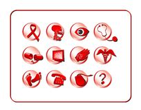 Medical & Pharmacy Icon Set - Red Royalty Free Stock Photo