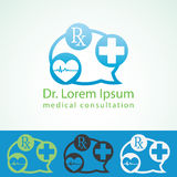 Medical pharmacy logo design template. Medic cross icon heart with cardiogram. Doctor consultant identity mock up.  royalty free illustration