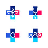 Medical or pharmacy logo templates or icons with cross Stock Image