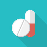 Medical pill icon. Vector illustration flat design. Capsule and tablet isolated on background with long shadow vector illustration
