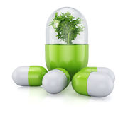 Medical pill with plant inside Royalty Free Stock Photos