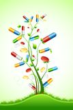Medical Pill Tree. Illustration of tree with medical pill on abstract background Stock Photos