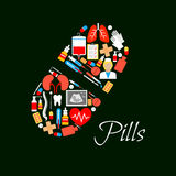 Medical pill vector poster of medicines Stock Photo