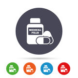 Medical pills bottle sign icon. Drugs symbol. Stock Image