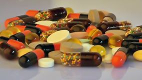 Medical pills and capsules stock footage