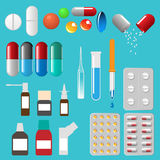 Medical pills capsules and other vector illustration