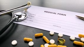 Medical Pills. Colored Pills And Capsule On Black Table. Pharmacy Theme, Capsule Pills With Medicine Antibiotic in. Packages stock video footage