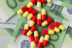 Medical pills or drugs and euro cash money Stock Images