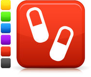 Medical pills icon on square internet button Royalty Free Stock Images