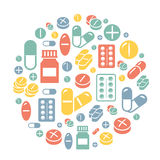 Medical pills icons circle background card. Royalty Free Stock Photo